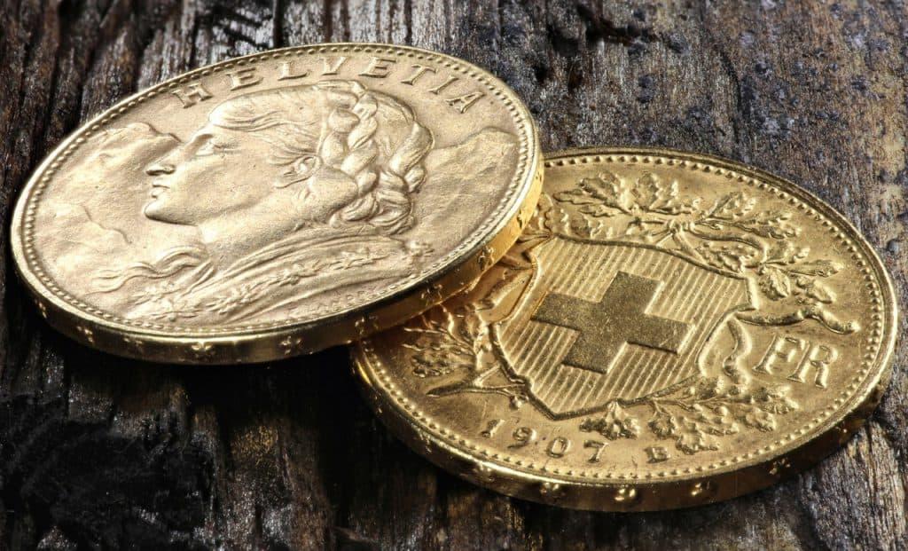 Schweizer Goldmünzen Helvetia Und Vreneli Sind Im Sicheren Hafen