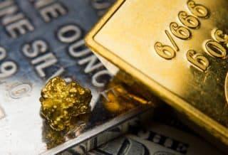 Gold und Silberbarren - Goldnugget